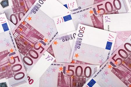 euromoney: Many  bundle of 500 Euro bank notes