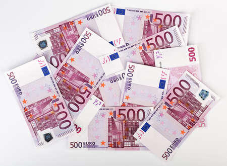 euromoney: Many  bundle of 500 Euro bank notes