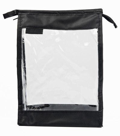 Small empty synthetic fabric bag with transparent side  photo