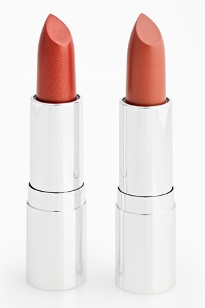 Two brown lipsticks isolated over white with  photo