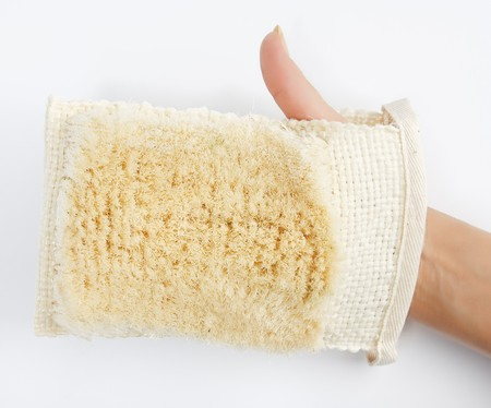 Natural textile bath sponge with shaggy bottom layer photo