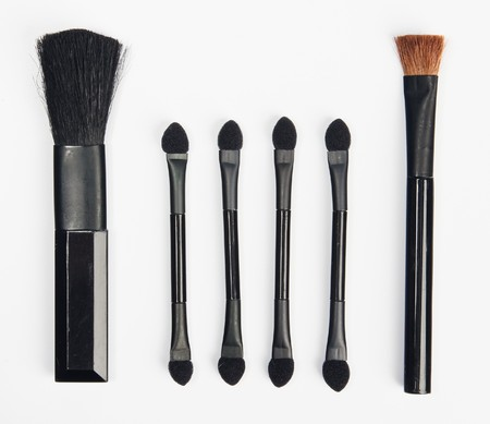 configurations: The group of different configurations makeup brushes isolated on white