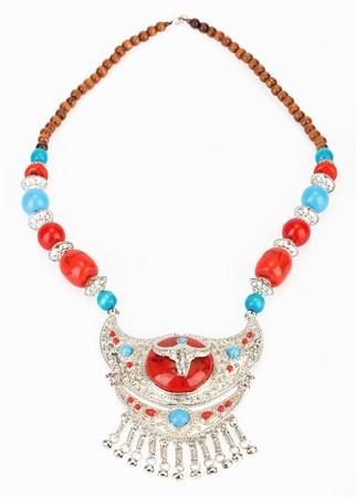 Ethnic Tibetan necklace with yak symbol photo