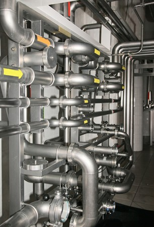 brewery: Part of Water purification filter equipment with many metal pipes Stock Photo