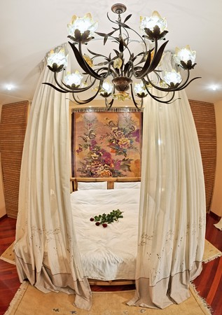 canopy: Medieval style bedroom with canopy bed on wide angle view
