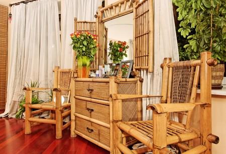 Wooden ethnic bamboo boudoir furniture photo