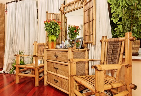 bamboo plant: Wooden ethnic bamboo boudoir furniture