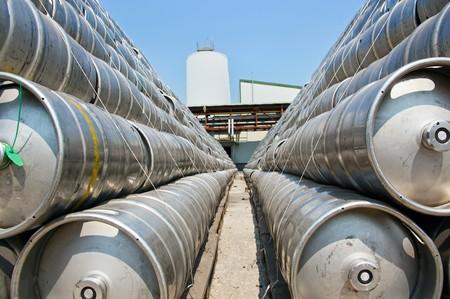 Metal beer barrel outdoor storage Stock Photo - 7504565