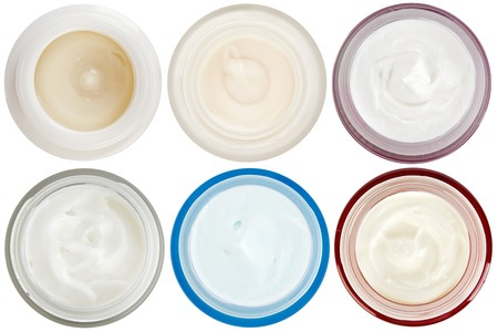dermal: Set of 6 different dermal creams and gels isolated on white