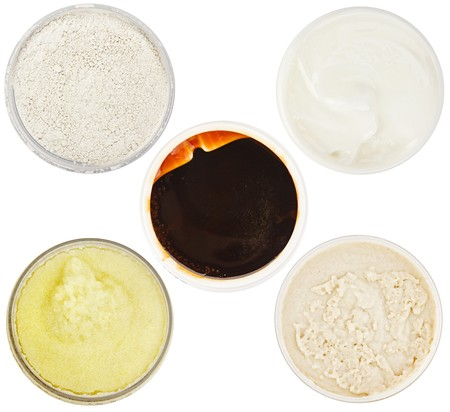 dermal: Set of 5 different dermal masks and scrubs isolated on white Stock Photo