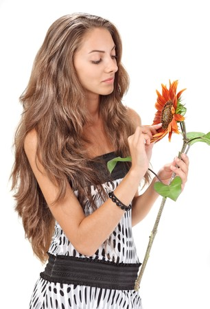 Young beautiful girl with long hairs holding sunflower on white Stock Photo - 7907761