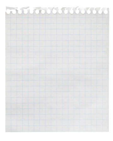 Squared paper loose-leaf note sheet isolated on white Stock Photo