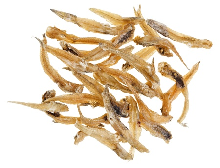 bullhead fish: Many salted goby fishes isolated  on white background