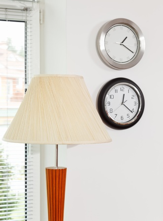Part of modern minimalism style inter with lamp shade and clocks Stock Photo - 8547279