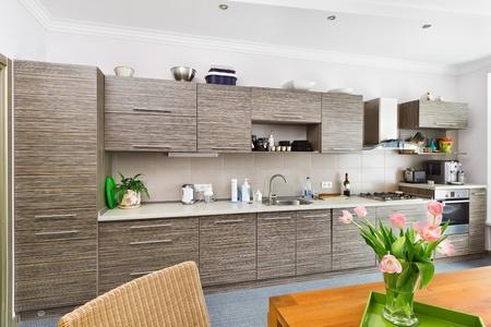 cajones: Interior de cocina de estilo de minimalismo moderna con muebles gris con dibujos Foto de archivo