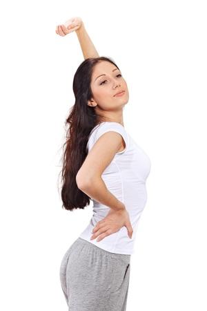 awaking: Young beautiful brunette lady stretching after awaking Stock Photo