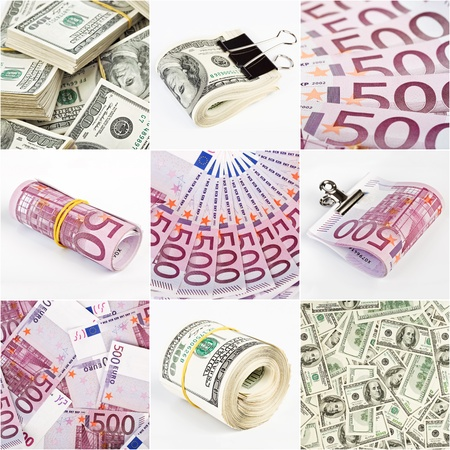 euromoney: Collage from dollar and euro money backgrounds