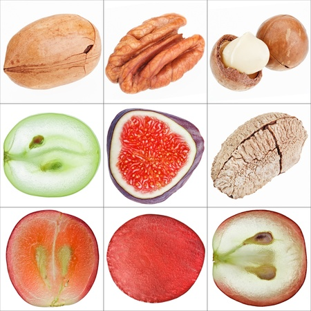 Collage of isolated fruits (nuts, grape, fig), fine macro shots photo