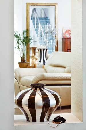 Part of modern art deco style drawing-room interior with striped vase Stock Photo - 8566960
