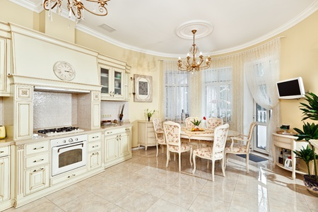 Classic style kitchen and dining room interior in beige pastoral colors Stock Photo - 8566973