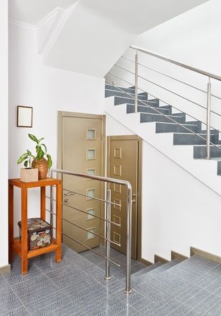 banisters: Modern hall with metal staircase interior in minimalism style
