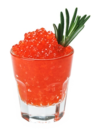 unpressed: Red salmon caviar in a glass with rosemary leaf isolated on white