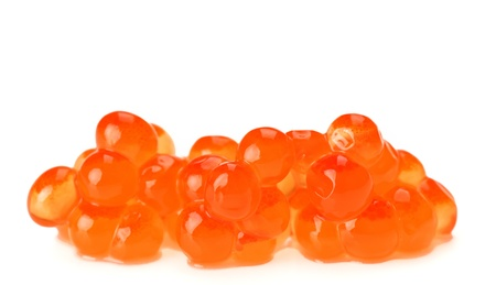 unpressed: Red salmon caviar heap isolated on white Stock Photo