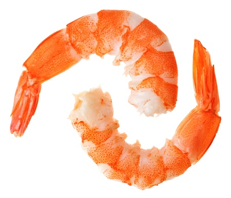 prawns: Two cooked unshelled tiger shrimps isolated on white Stock Photo