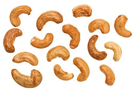 cashew nuts: Unshelled roasted cashew nuts isolated on white, food background Stock Photo