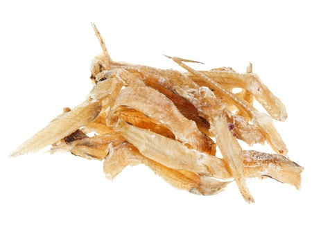 bullhead: Many salted goby fishes isolated  on white background