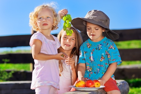 Cute blond little girl and boy in funny hat playing with fruits on rural wooden log bench photo