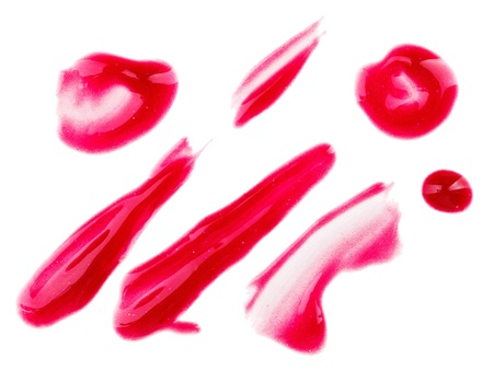 Red fluid lips gloss samples, isolated on white Stock Photo - 9452532