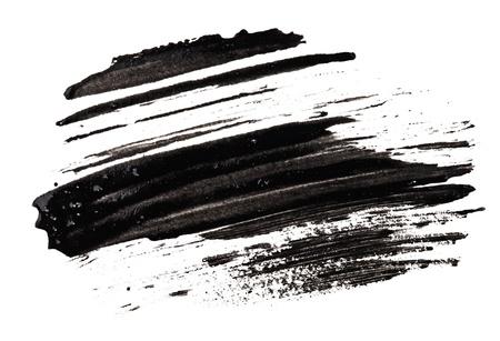 Trazo (muestra) de mascara negra, aislado en blanco macro