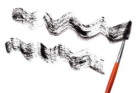 Stroke of black mascara with applicator brush, isolated on white macro Stock Photo - 9567849