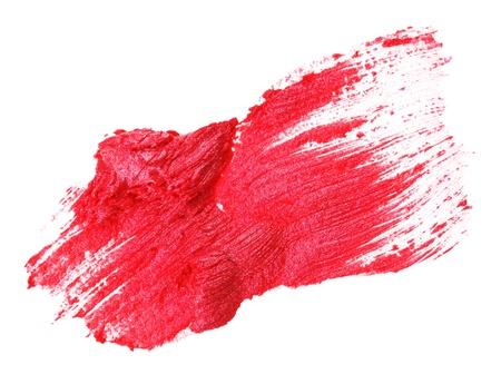 verschmieren: Red Lippenstift Schlaganfall (Probe), lokalisiert auf Wei�