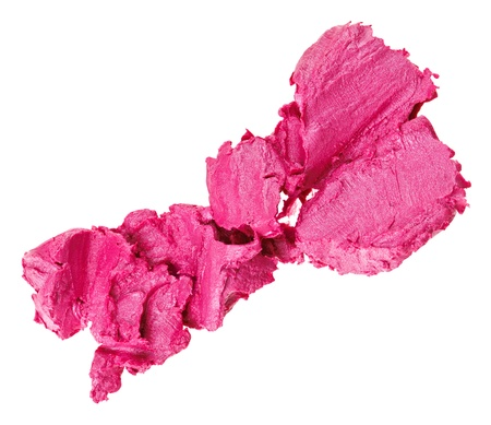Crushed pink lipstick sample, isolated on white Stock Photo - 9567863