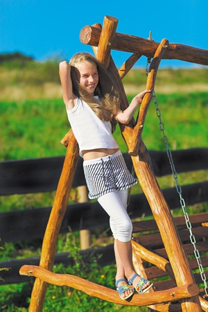Cute little girl with blond long hair playing on wooden chain swing in rural playground Stock Photo - 9783224