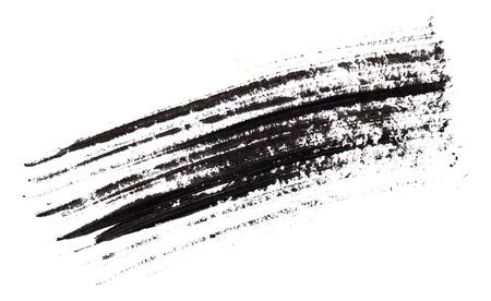 verschmieren: Stroke (Probe) aus schwarzem Mascara, auf wei�em Makro isoliert Lizenzfreie Bilder