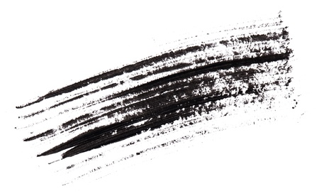 smudge: Stroke (sample) of black mascara, isolated on white macro