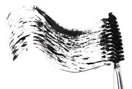 Stroke of black mascara with applicator brush, isolated on white macro Stock Photo - 9964489
