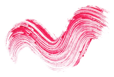 glans: Red lipstick stroke (sample), isolated on white Stockfoto