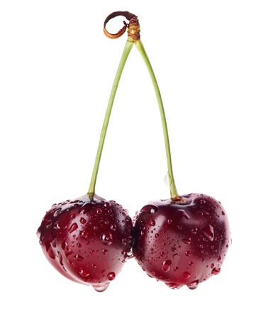 dark cherry: Pair of red ripe cherry fruit with water drops on green stem isolated on white