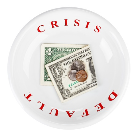 poorness: Economy crisis of USA dollar currency concept photo with default sign on white plate Stock Photo