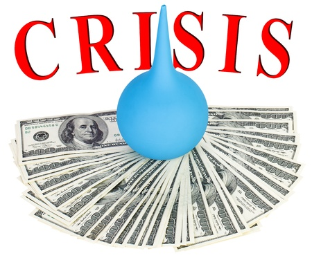 credit crisis: Default of USA dollar currency concept photo with clyster Stock Photo