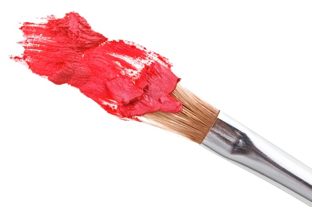 Red lipstick stroke (sample) with makeup brush, isolated on white Stock Photo - 10319265