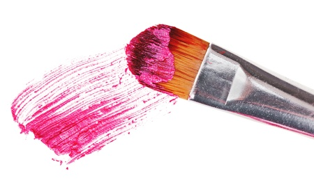 Pink lipstick stroke (sample) with makeup brush, isolated on white Stock Photo - 10319311