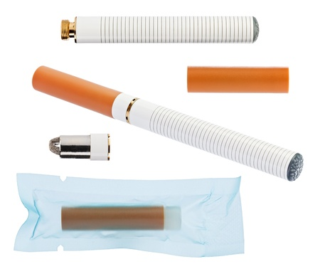 Electronic cigarette with parts isolated on a white background high quality macro shot photo