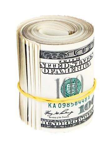 bundles: 10 thousand US dollars rolled up bundle on white background Stock Photo