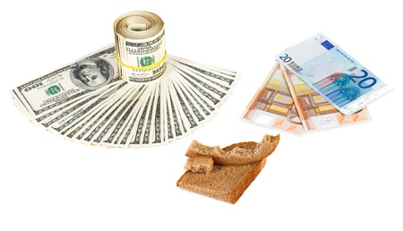 shortage: Economy crisis euro currency concept photo with bread crust on white
