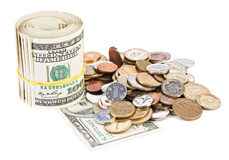 poorness: USA dollar currency monetary concept photo with rolled bank notes and coins Stock Photo